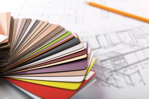 küche-möbel-design - skizze materialproben auf projekt - küche neu gestalten ideen stock-fotos und bilder