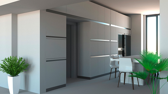Kitchen Furniture Interior Design Furniture And Appliances Entrance And Open Space With A View Of A Kitchen Stock Photo Download Image Now Istock