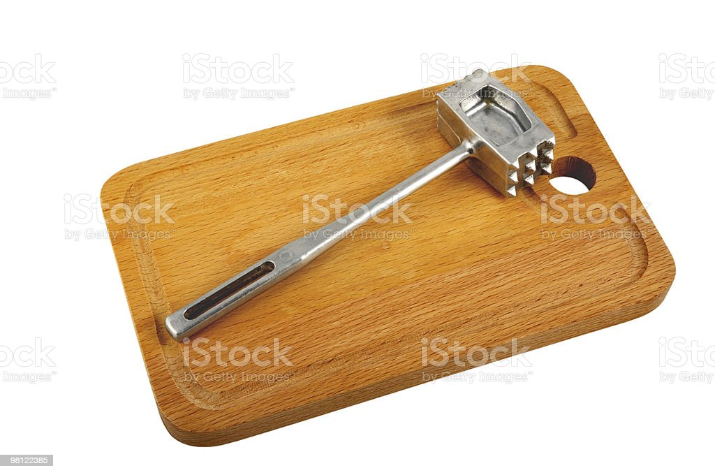 Kitchen Hammer On Chopping Board royalty-free stock photo
