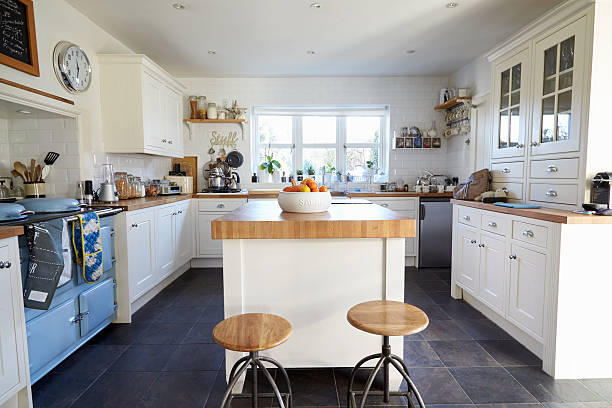 kitchen in contemporary family home - family room stock photos and pictures