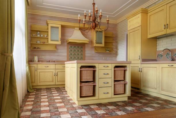 küche im landhaus - landhausstil küche stock-fotos und bilder