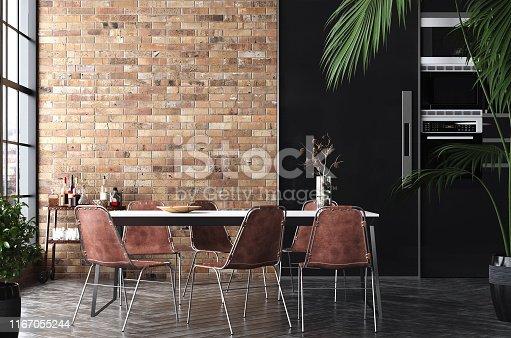Kitchen in loft, Industrial style, 3d render