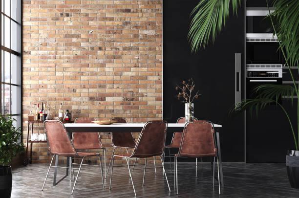 keuken in loft, industriële stijl - loft stockfoto's en -beelden