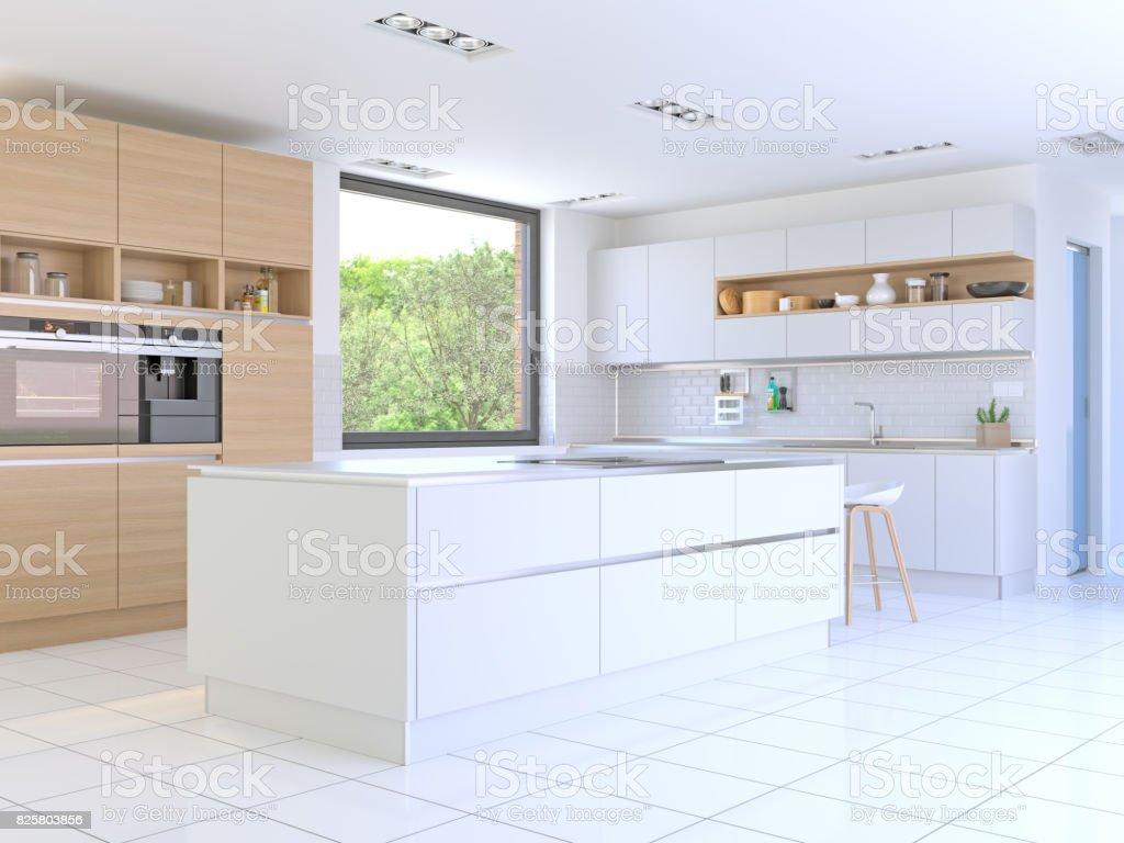 Kitchen in modern home stock photo