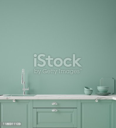istock Kitchen in neo mint color, wall poster mock up 1186911109