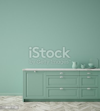 istock Kitchen in neo mint color, wall poster mock up 1186911135