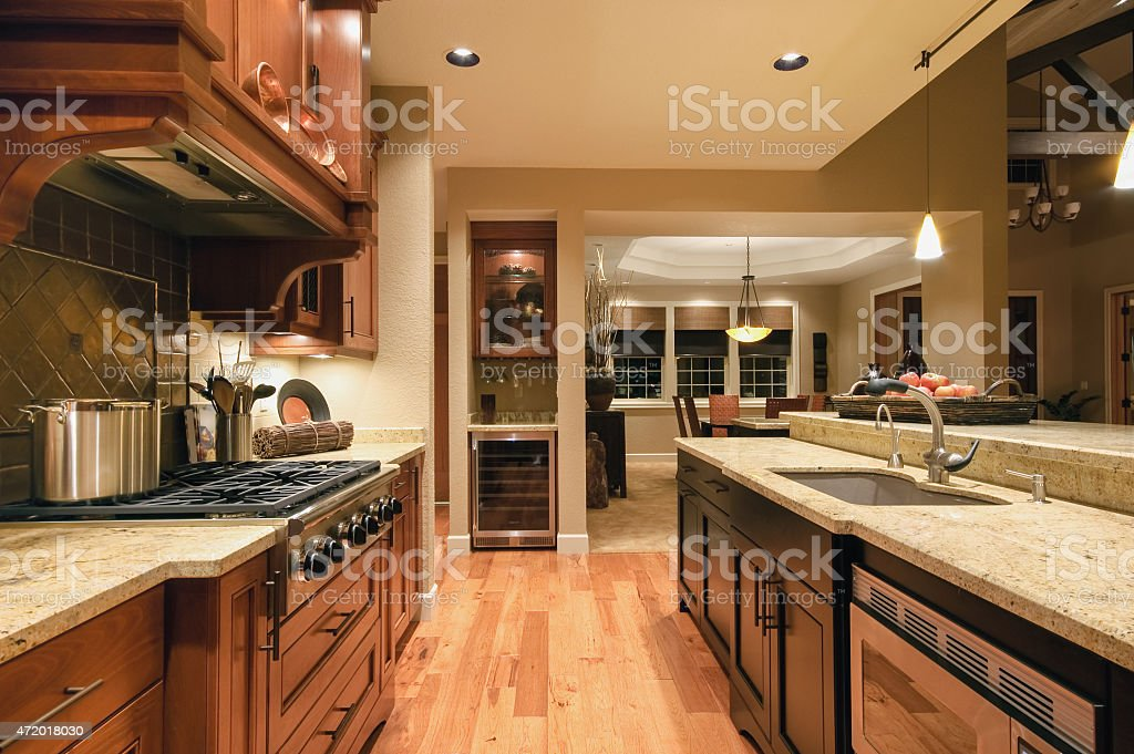 Kitchen in New Luxury Home stock photo