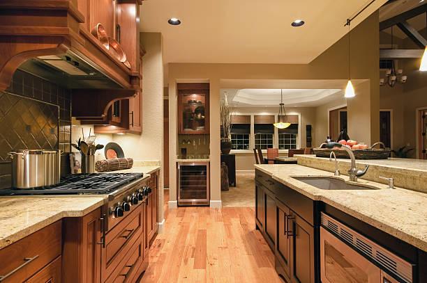 kitchen in new luxury home - husutbyggnad bildbanksfoton och bilder