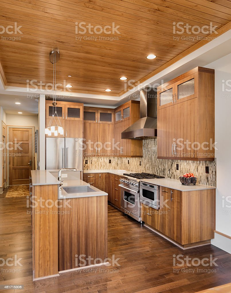 Kitchen in New Luxury Home with Dark Wood Throughout stock photo