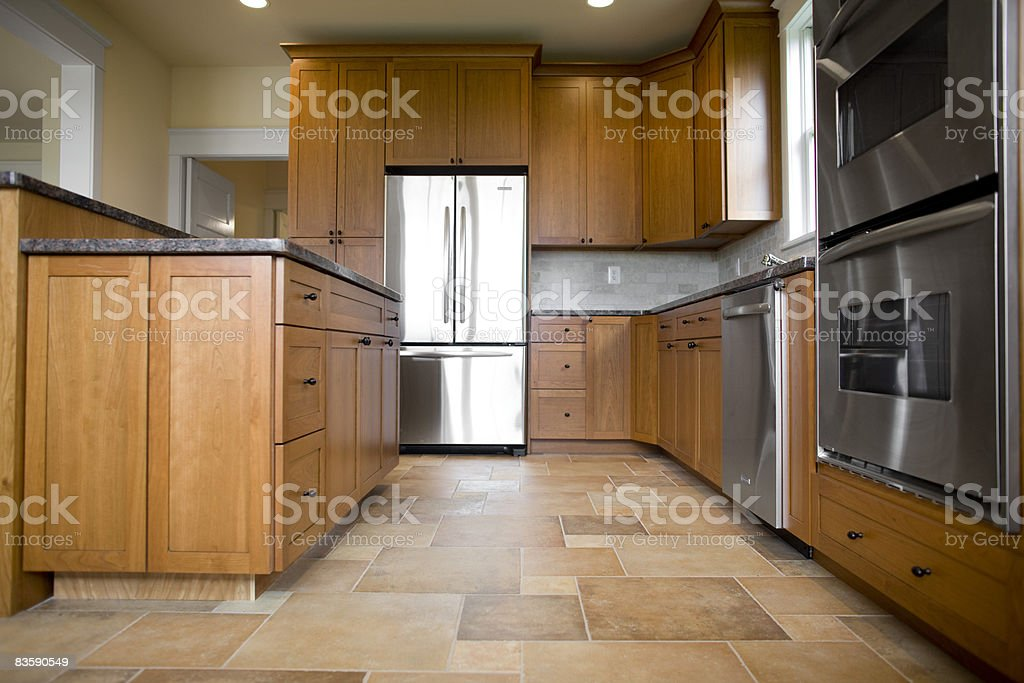 Kitchen in newly constructed house royalty free stockfoto