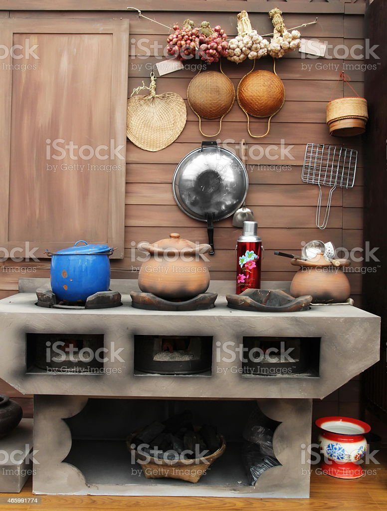 kitchen in Thailand traditional stock photo