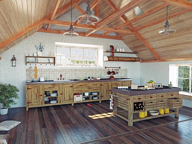 küche im the attic - landküche stock-fotos und bilder