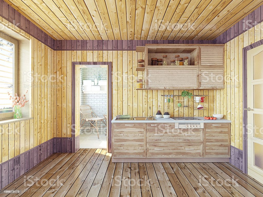 kitchen in the country house stock photo