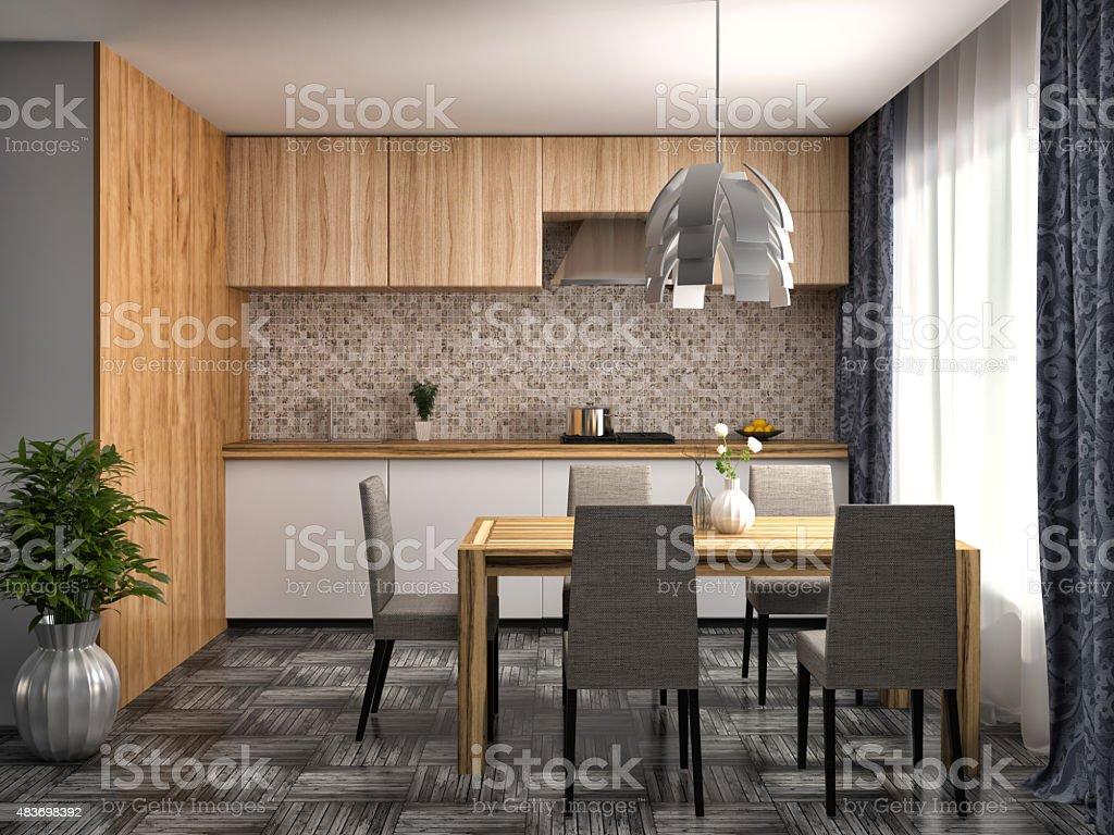Küche In Weiß Und Und Holzvertäfelung 20 D Illustration Stockfoto und mehr  Bilder von 20