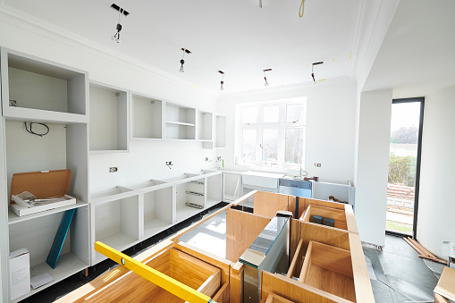 a modern kitchen partially finished