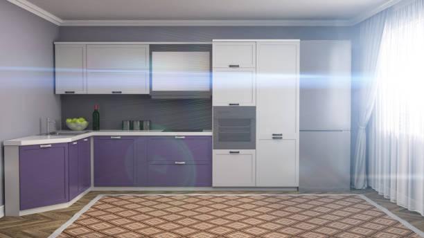 küche interieur. 3 d illustration - küche deko lila stock-fotos und bilder