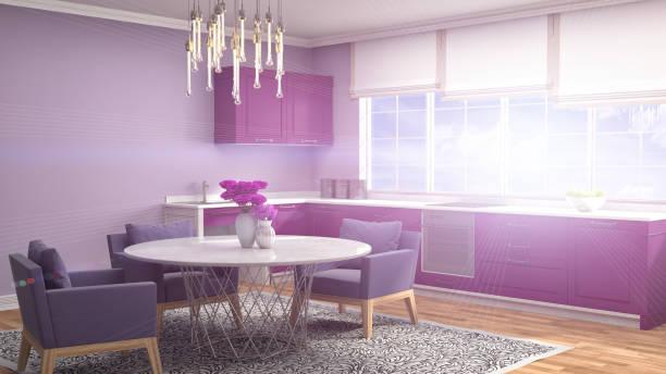 küche interieur. 3 d illustration - küche lila stock-fotos und bilder