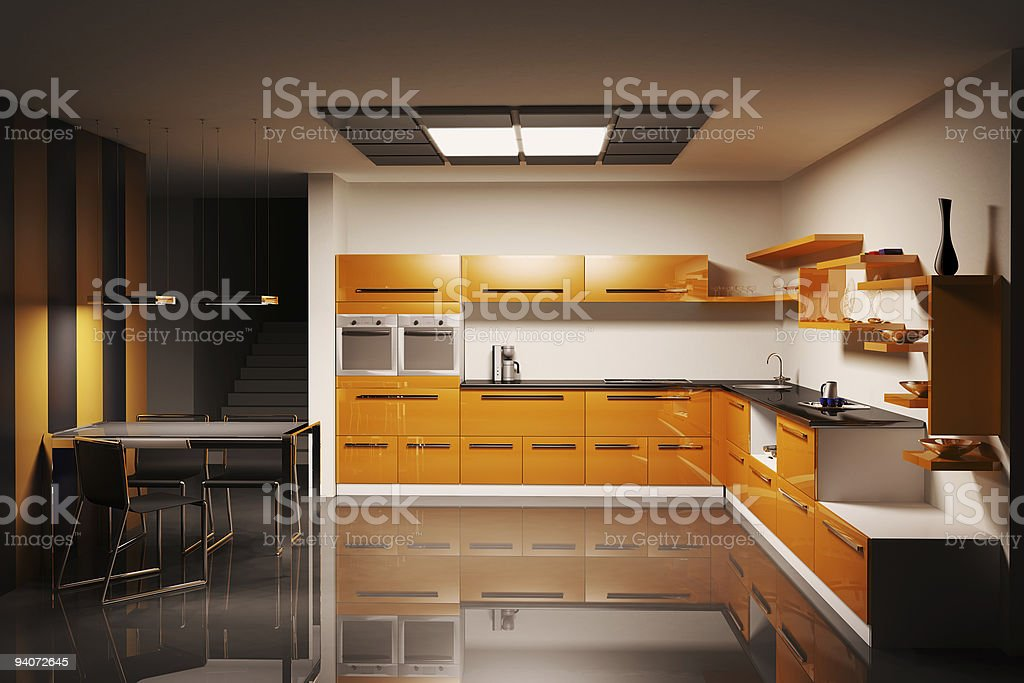 Kitchen interior 3d royalty-free stock photo