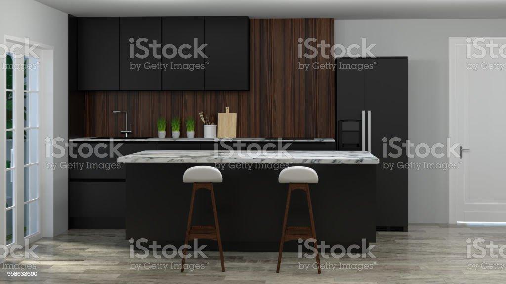 Küche Interieur Kochen Schwarzen Tisch Stuhl Lampe Moderne Küche