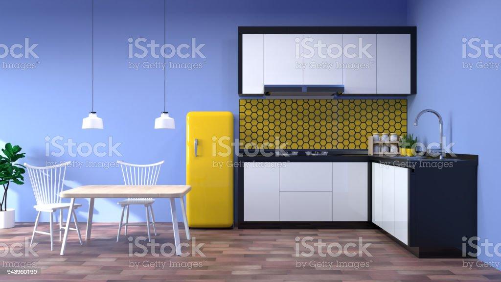 Moderne Lampen 94 : Küche interieur küche moderne küche restaurant 3d rendering weiß