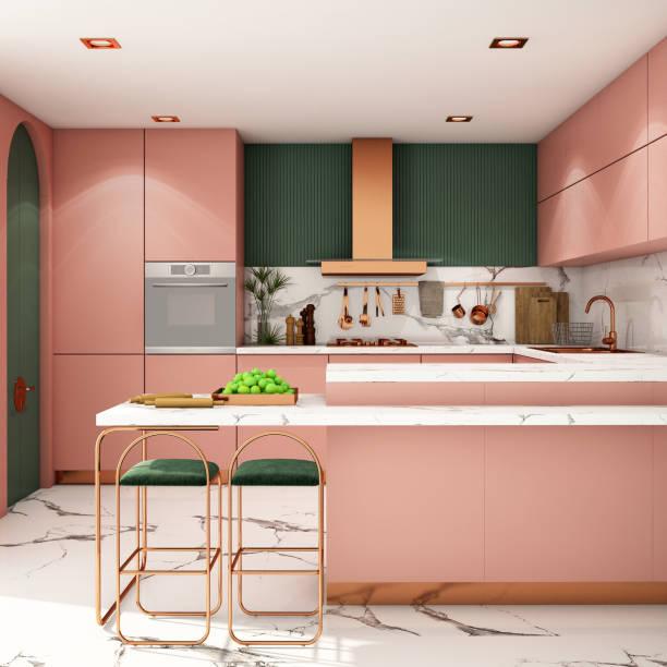 innenarchitektur in moderner stild.3d-darstellung - küche deko grün stock-fotos und bilder