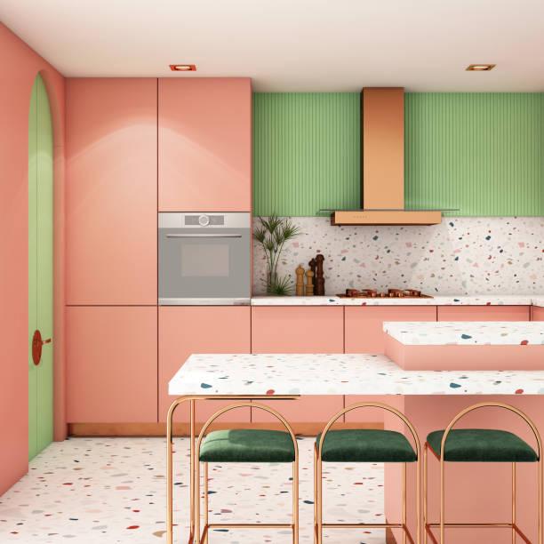 kitchen interior design in modern style,3d rendering,3d illustration - kitchen counter imagens e fotografias de stock