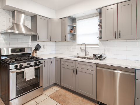 a small modern kitchen with grey cabinets and stainless steel appliances and a decorative bowl\n.