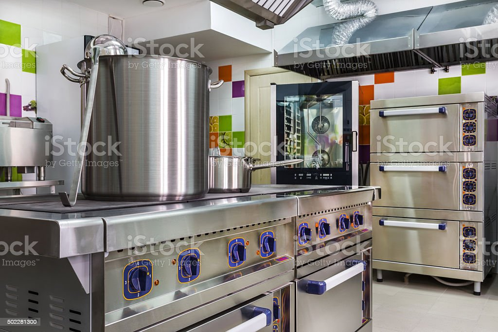 kitchen interior in child care stock photo