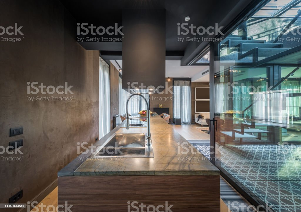 Kitchen Interior In Modern Luxury Penthouse Apartment Stock Photo Download Image Now Istock