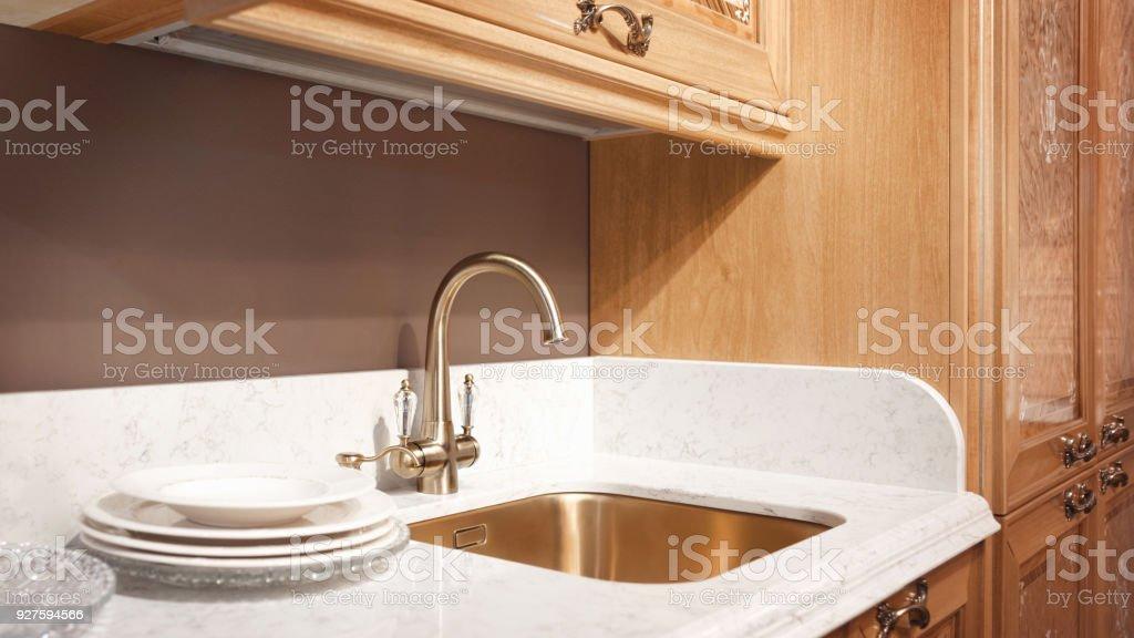 Kitchen interior, modern kitchen with a luxury mixer, breakfast...