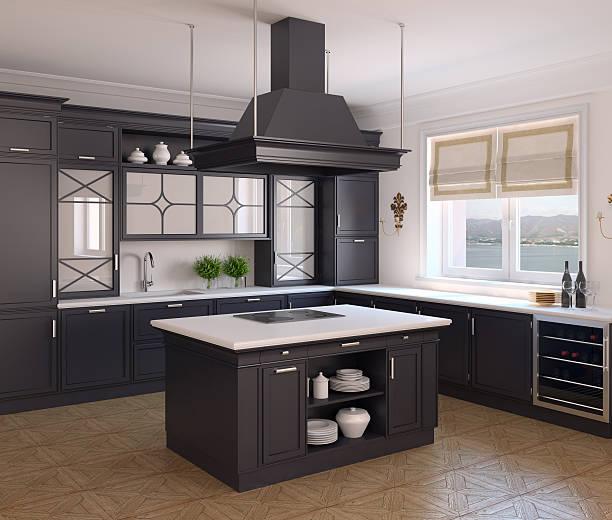 küche interieur. - landhausstil küche stock-fotos und bilder