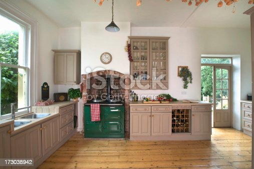 Traditional kitchen with Aga range cooker
