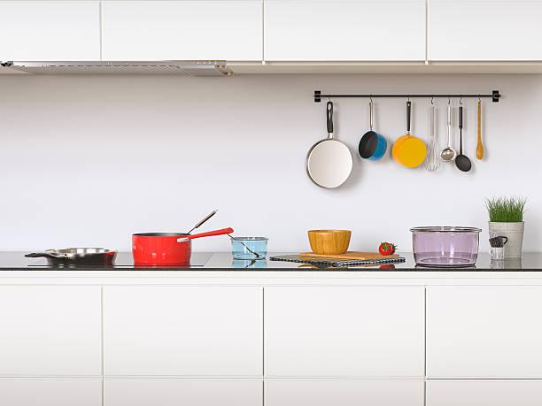 kitchen interior - tutamak üretilmiş nesne stok fotoğraflar ve resimler