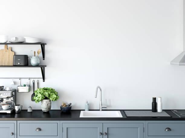 Küche-Innenwand-Modell. Wandkunst. 3D Rendering, 3d Illustration. – Foto