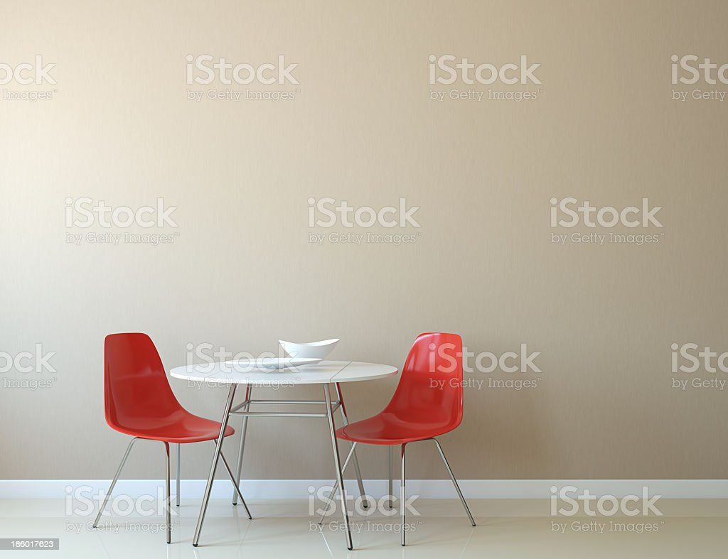 A kitchen interior with table and chairs  stock photo