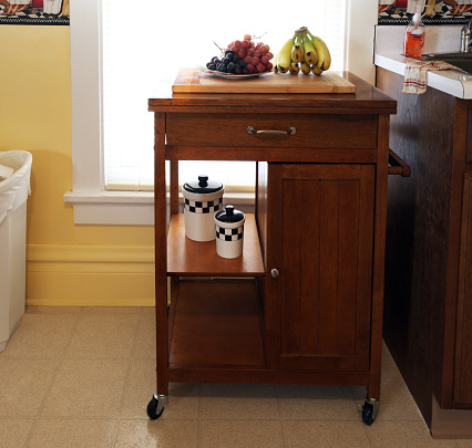 Kitchen is center of home, with food, sink, storage cabinet, garbage can.