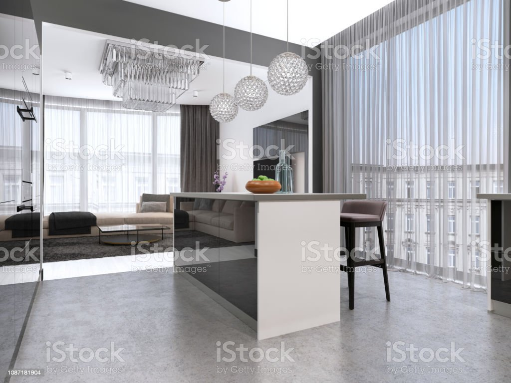 Picture of: Kitchen Island With Three Bar Stools And Round Glass Chandeliers In Contemporary Black And White Kitchen Stock Photo Download Image Now Istock