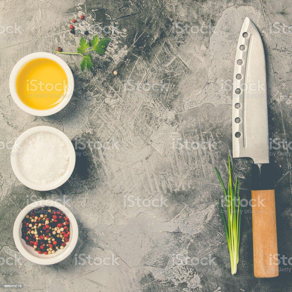 Keukenmes en specerijen - Royalty-free Azië Stockfoto