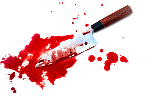 Kitchen deba knife bloody on white background