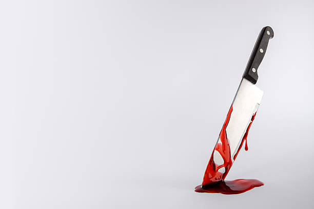 Kitchen knife dripping in blood with copy space stock photo