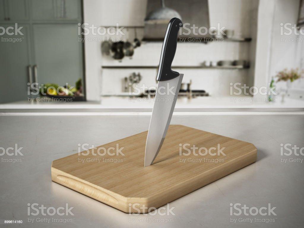 Küchenmesser auf schneiden Holz stehend auf Küchentisch – Foto