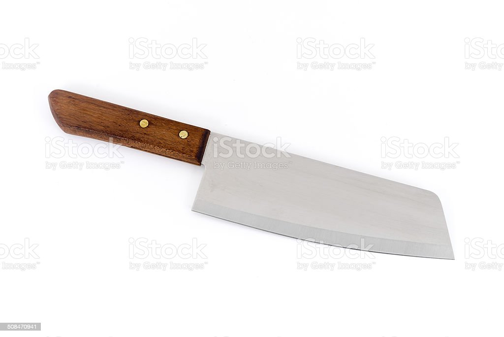 Kitchen knife with wooden handle stock photo