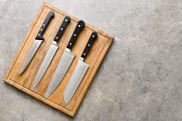 keuken messen set - keukenmes stockfoto's en -beelden