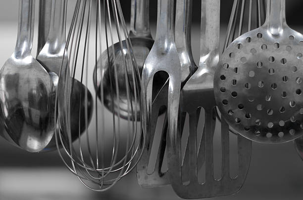 Kitchen ladles stock photo