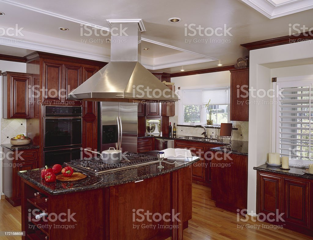Kitchen Land with Large Exhaust Hood 2 royalty-free stock photo