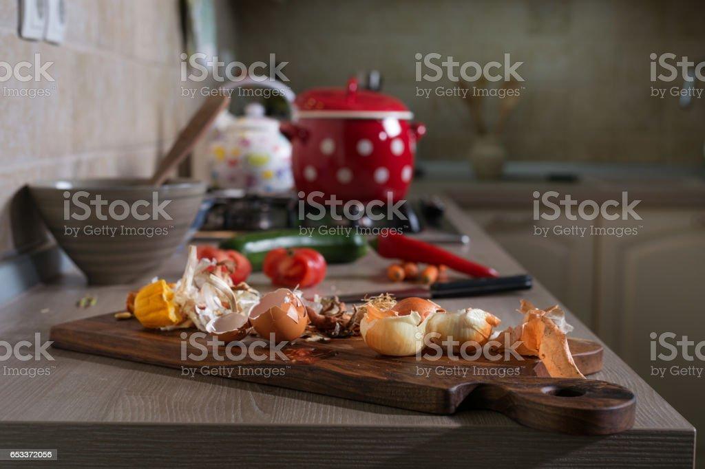 Kitchen leftovers stock photo