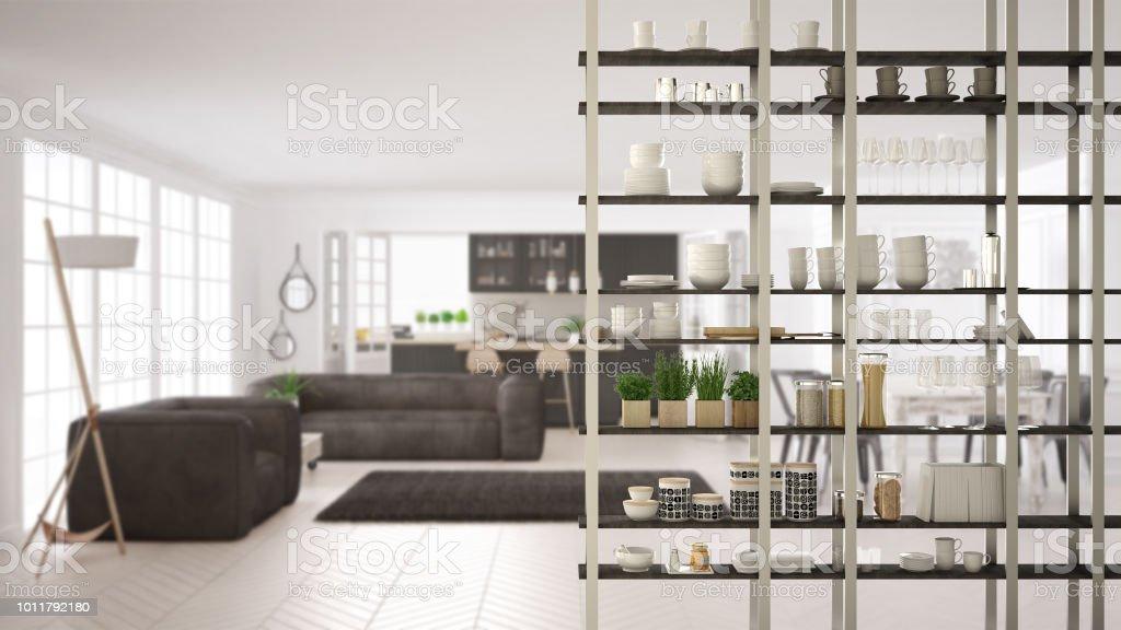 Keuken woonkamer rekken systeem voorgrond closeup interieur design