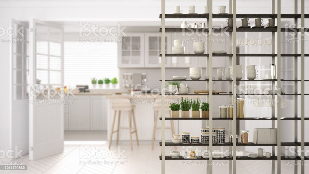 Kitchen Living Room Shelving System Foreground Closeup