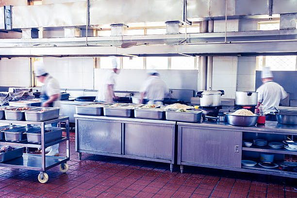 kitchen of a chinese restaurant stock photo