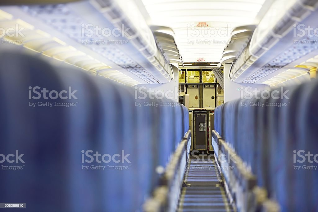 Kitchen of the airplane stock photo